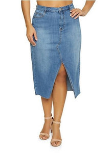 Jean Skirt - Light Blue Split