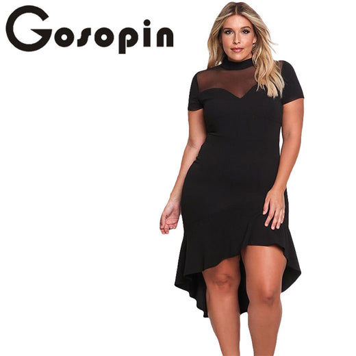649c7b1f025 Gosopin Summer Dress XXXL Ruffled Work Office Dress Plus Size Black Sexy Club  Dresses Womens Large Sizes Hollow Out Red LC61661