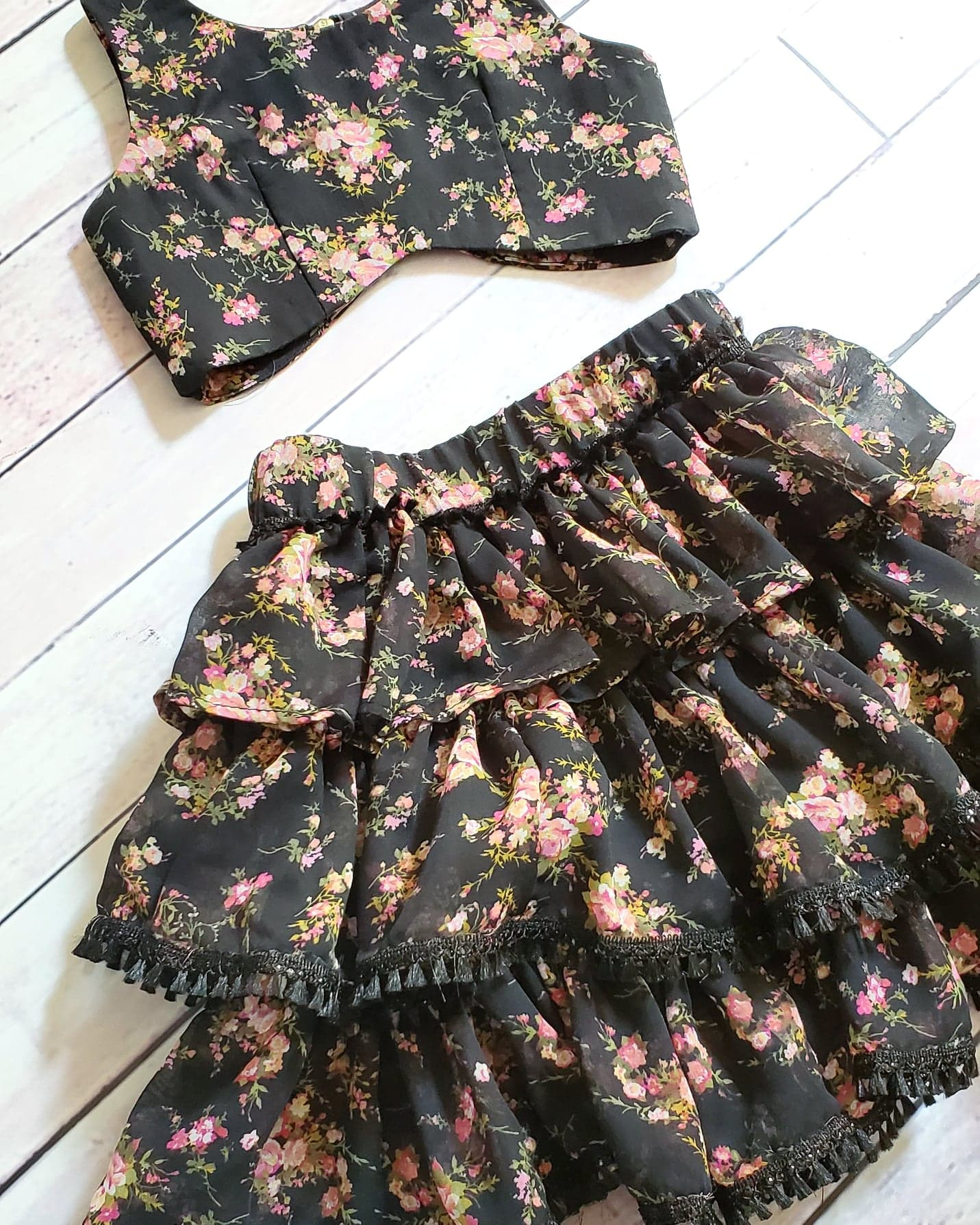 Senorita Black Floret Skirt