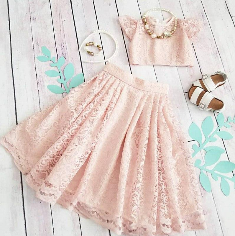 Tuscan Lace Blush Pink Skirt&Top