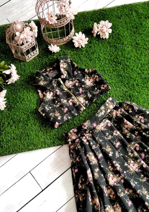 Secret Garden Black Floret Skirt&Top