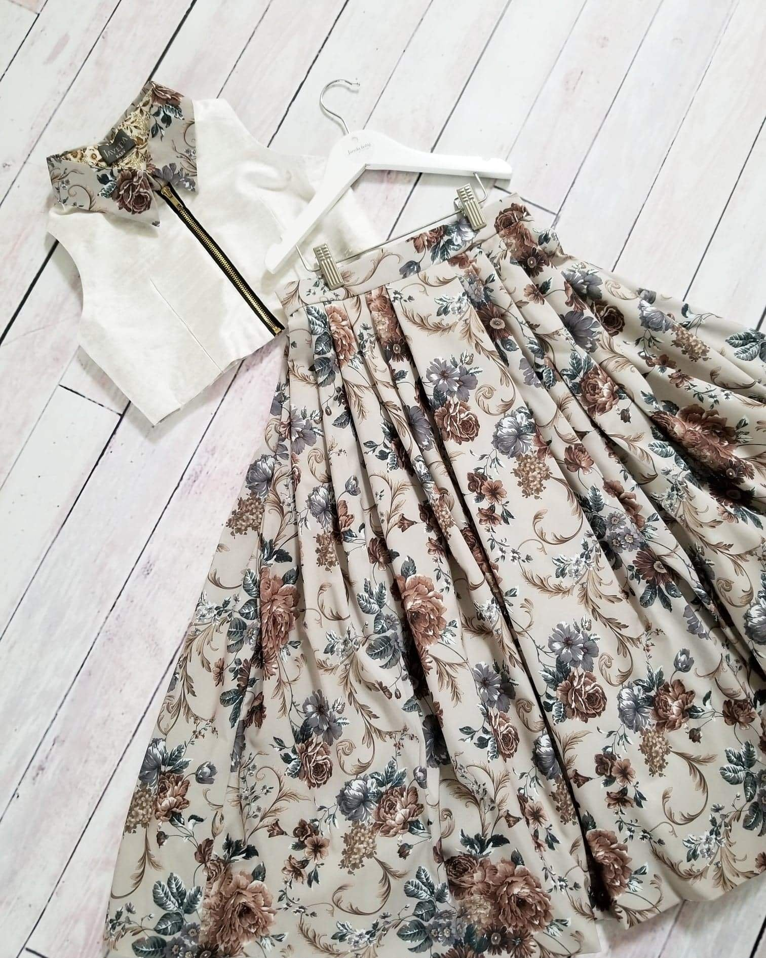 Botanical Silk Skirt&Top