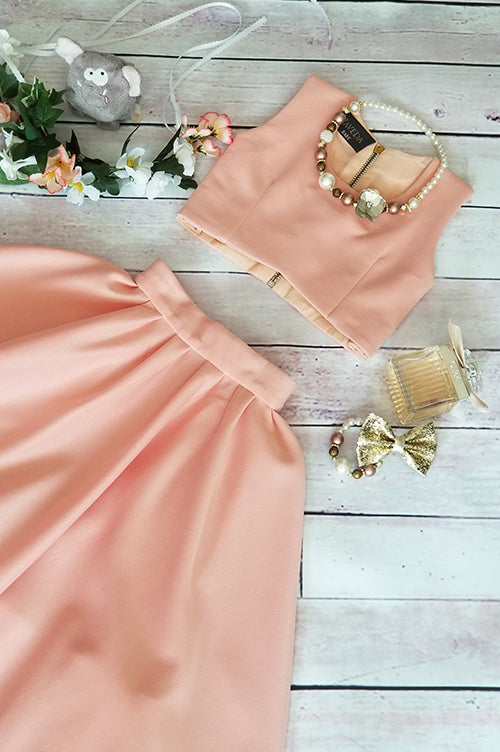 Avisa Peach Skirt&Top