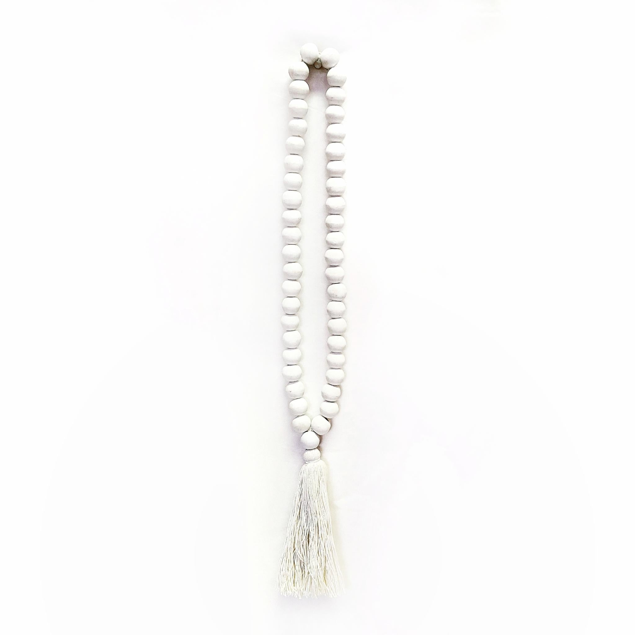 WOODEN BEADED GARLAND - WHITE - SUN REPUBLIC