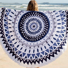 BOHO ROUNDIE - LARGE ROUND COTTON BEACH TOWEL - BLUE - SUN REPUBLIC