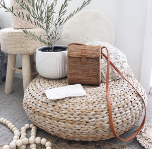 WOVEN RECTANGULAR RATTAN BAG - LARGE - SUN REPUBLIC