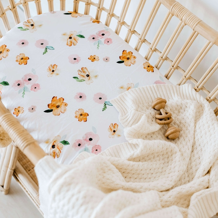 BASSINET SHEET/CHANGE MAT COVER - POPPY FLOWER