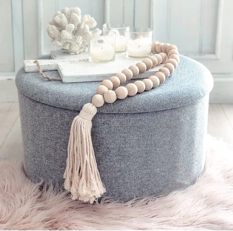 WOODEN BEADED TASSEL - NATURAL - SUN REPUBLIC