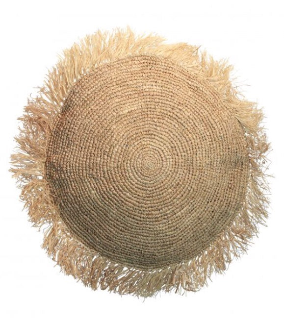 NATURAL ROUND RAFFIA CUSHION - SUN REPUBLIC