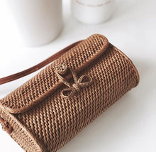 WOVEN RECTANGULAR NATURAL RATTAN BAG - SMALL - SUN REPUBLIC