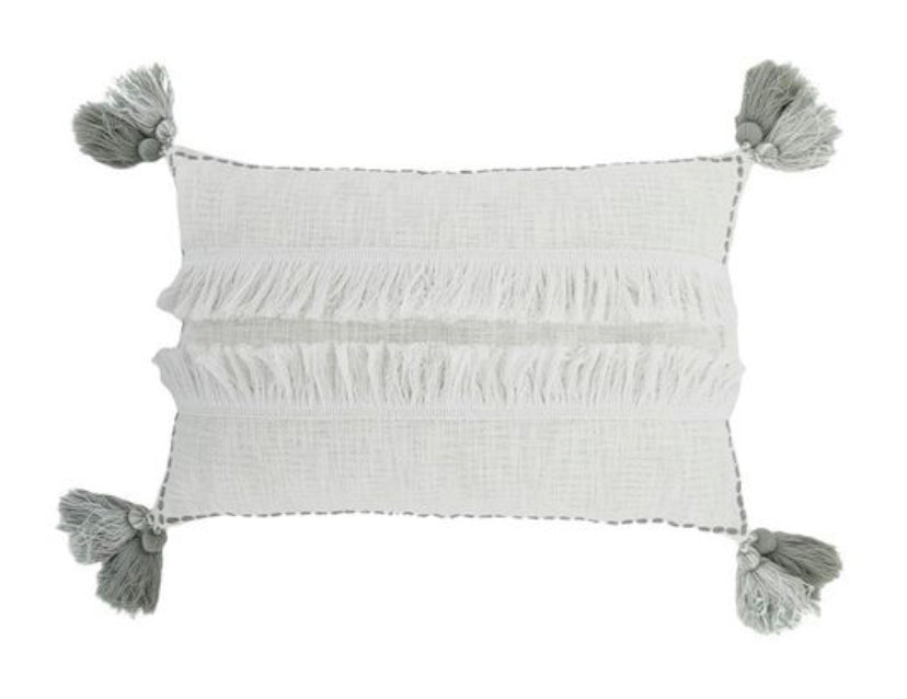 MACAWI COTT CUSHION - WHITE/GREY