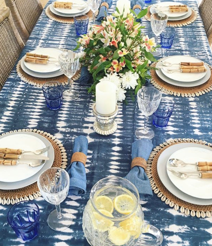 HAND WOVEN RATTAN & SHELL PLACEMATS - NATURAL/COFFEE