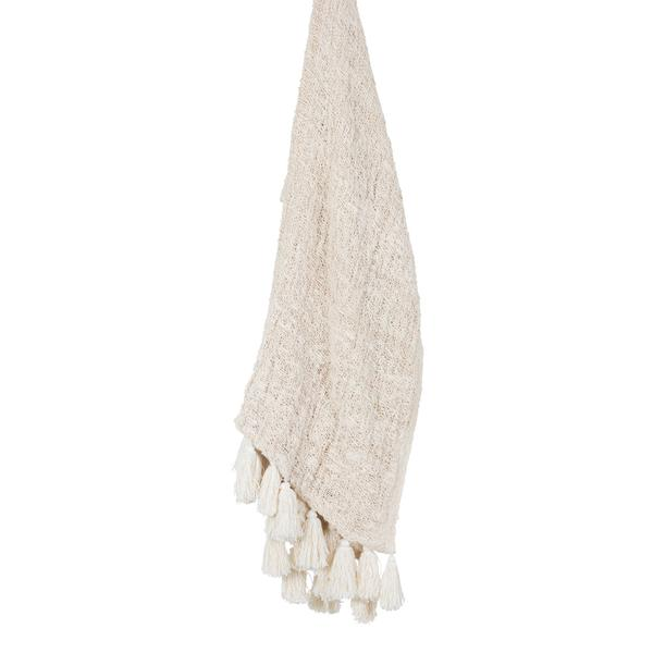 WILLOW HAND LOOMED THROW W/TASSELS - NATURAL - SUN REPUBLIC