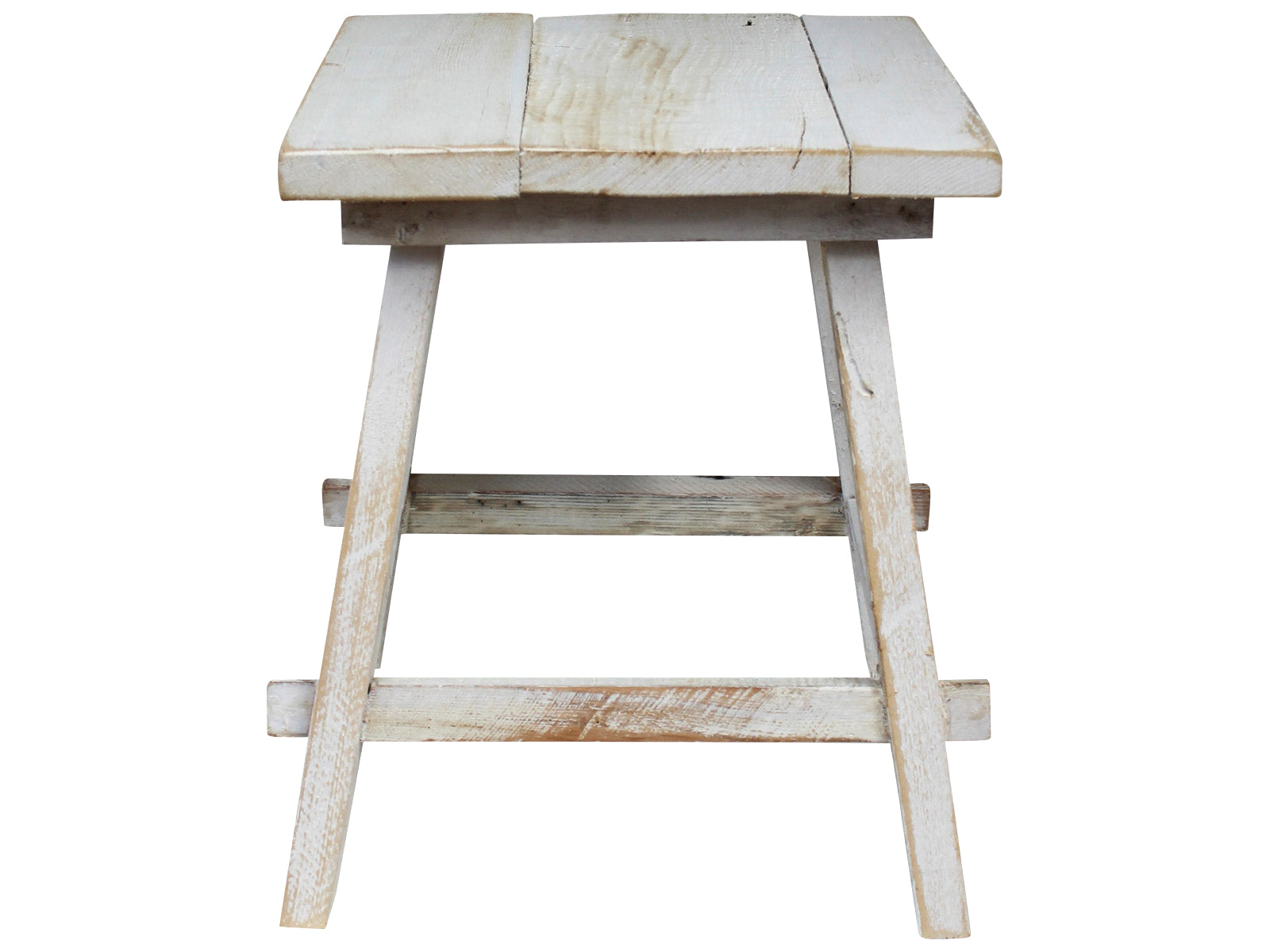 WHITE WASH WOODEN STOOL - SUN REPUBLIC