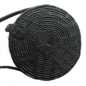 WOVEN ATTA ROUND BAG - BLACK - SUN REPUBLIC