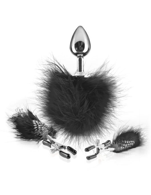Fetish Fantasy Series Feather Nipple Clamps & Butt Plug - Black PD4467-23