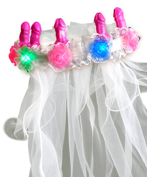 Bachelorette Party Favors Light-Up Pecker Veil PD6613-00