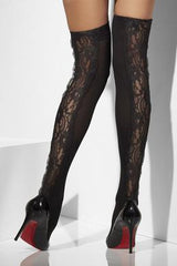 Sheer Hold-ups with Lace  Inserts - Black - One Size -  Sale Items