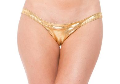 Lame Exposed Side Panty - Gold  - One Size -  Sale Items
