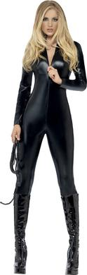 Fever Miss Whiplash Zip Up  Catsuit  - Black - Small -  Sale Items