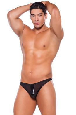 Wet Look Thong - One  Size - Black -  Allure Lingerie