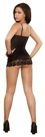 Chemise And G-String Set - Black - 1X/3X -  Magic Silk