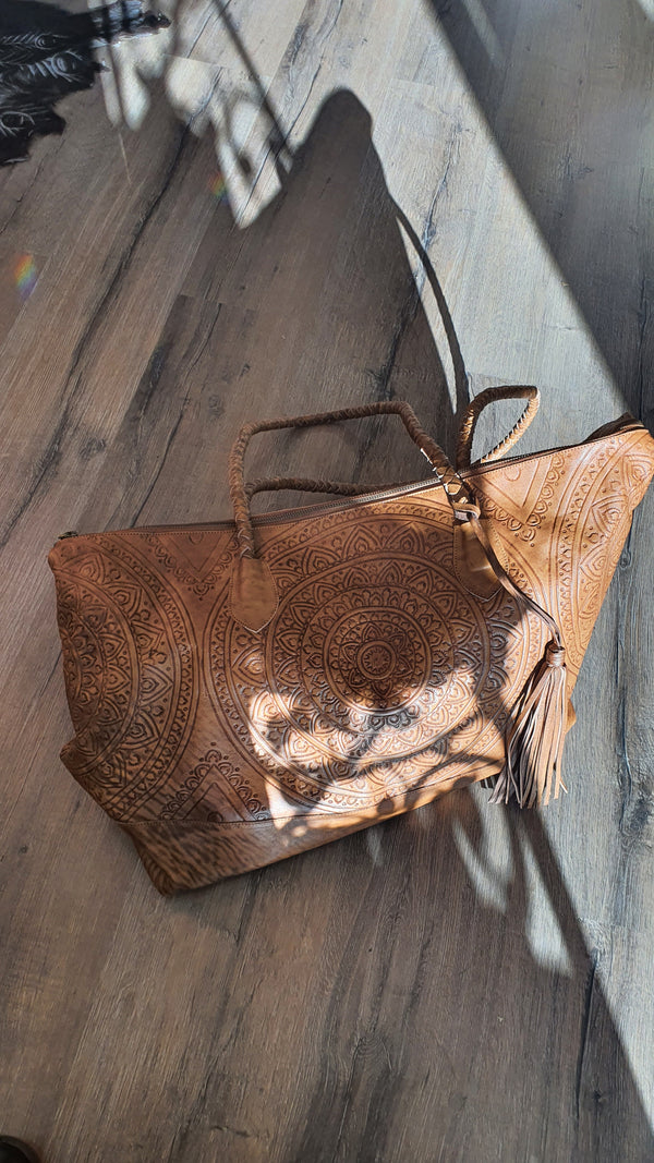 MANDALA leather OVERNIGHTER bag