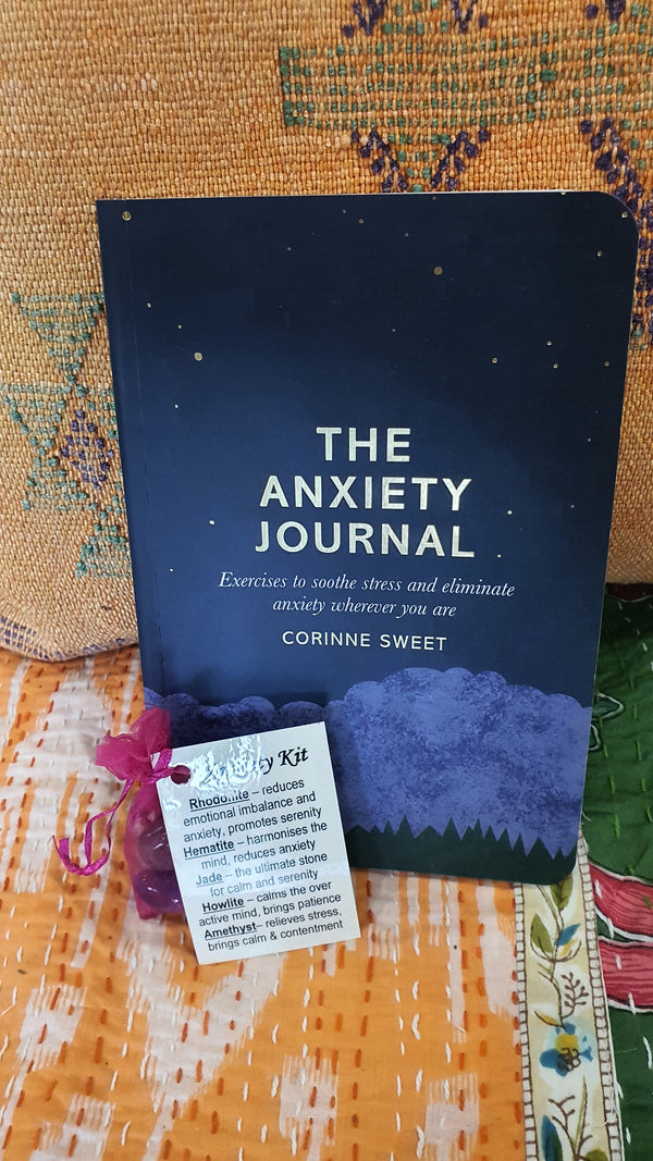 Anxiety pack.. Book and crystal set