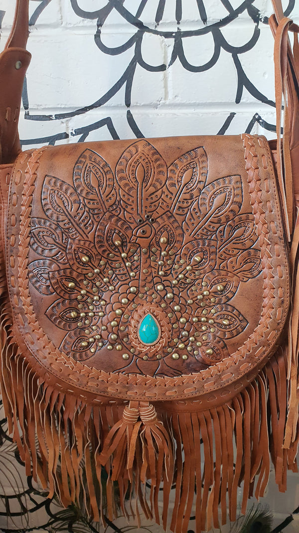 Peacock boho leather bag