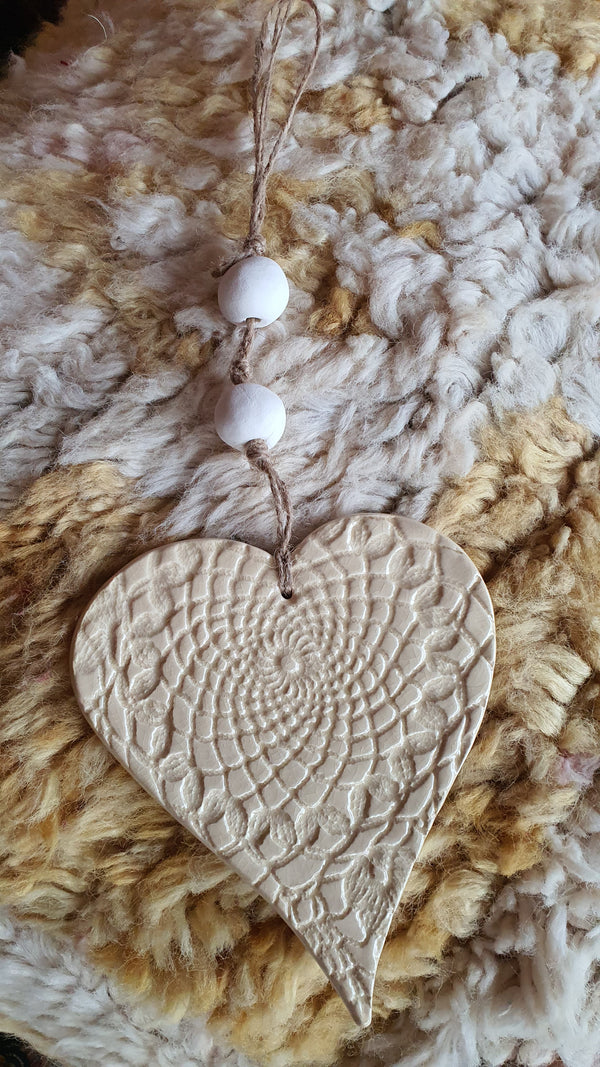 Natural ceramic heart wall hanging
