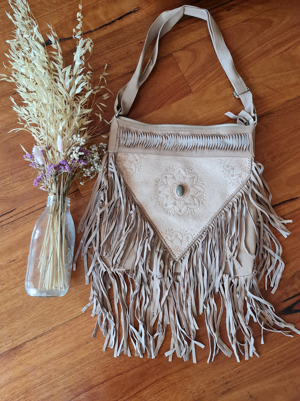 BLUSH leather fringe bag