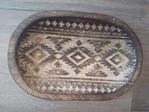Aztec hand carved platter plate