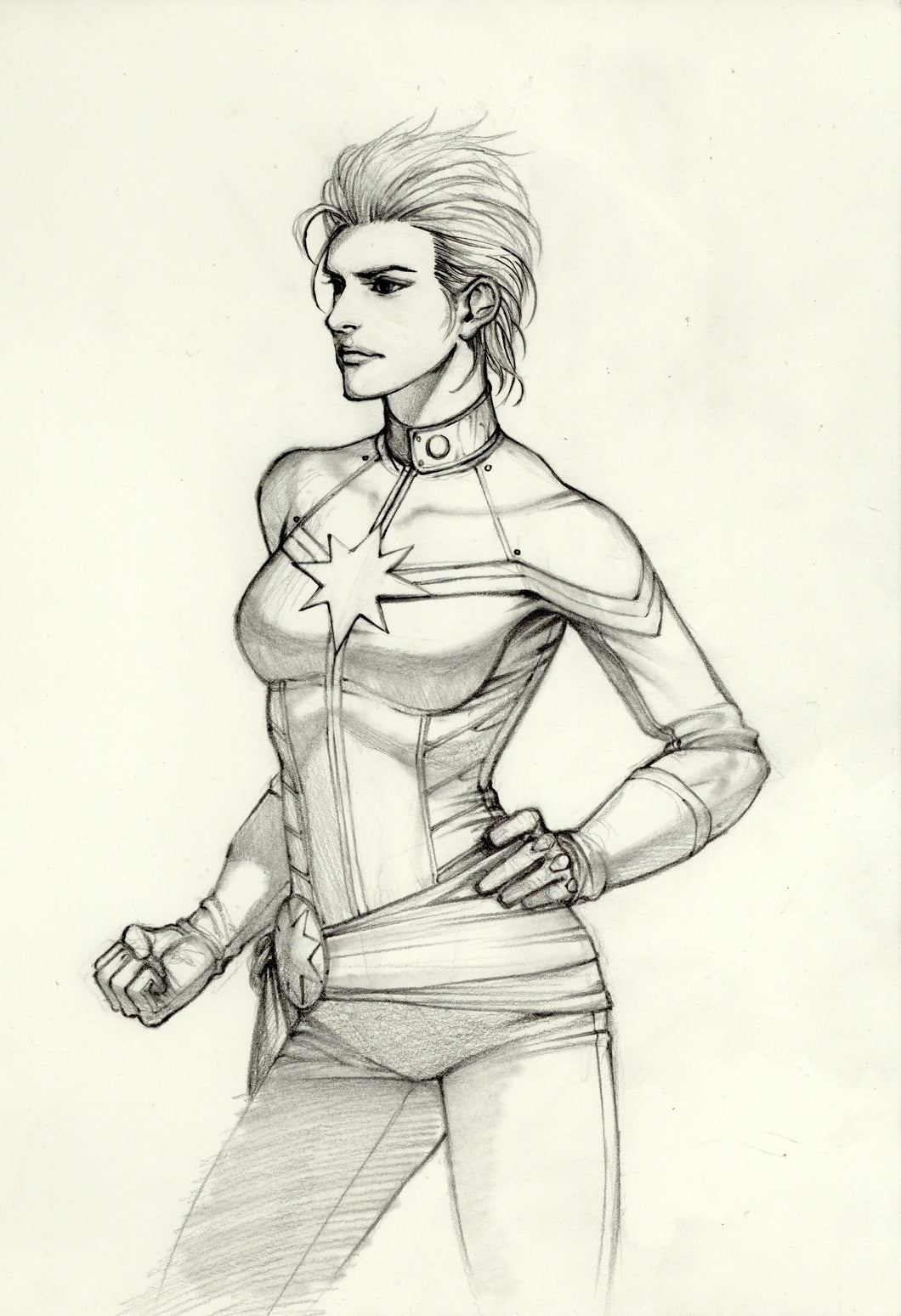 InHyuk Lee Captain Marvel Pencil Sketch
