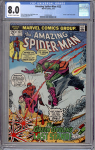 AMAZING SPIDER-MAN #122 CGC 8.0 (OFF WHITE TO WHITE PAGES) DEATH OF GREEN GOBLIN