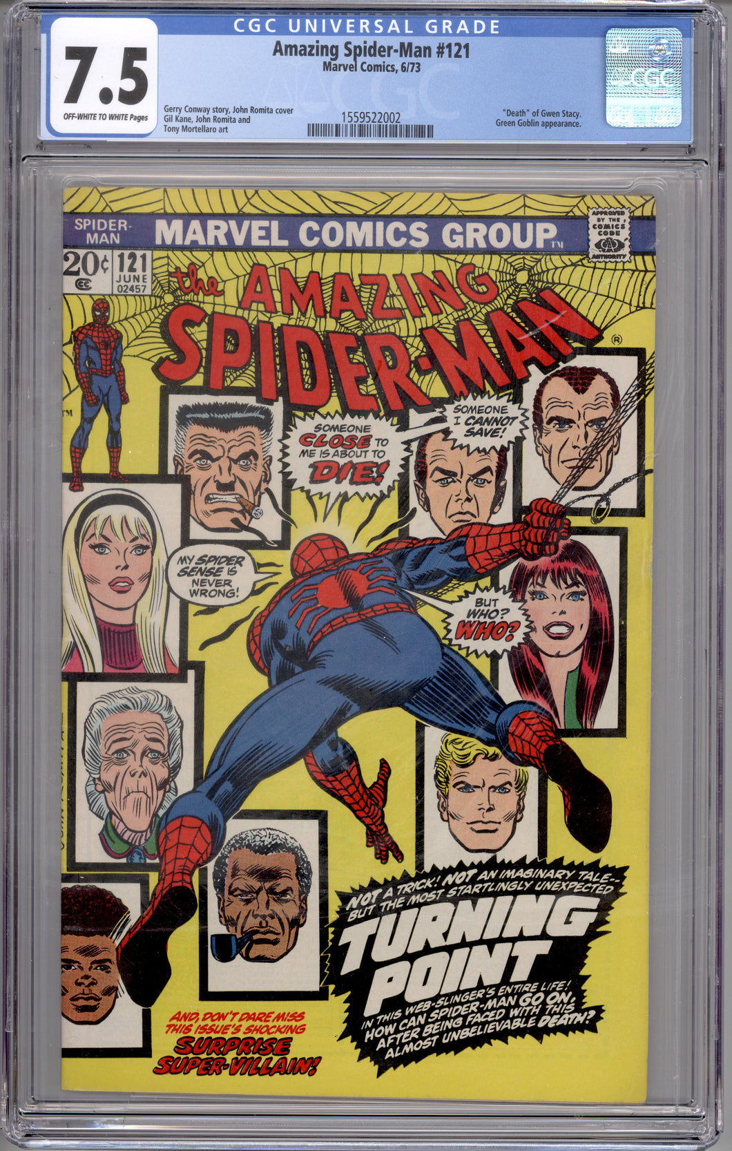 AMAZING SPIDER-MAN #121 CGC 7.5 (OFF WHITE TO WHITE PAGES) DEATH OF GWEN STACY