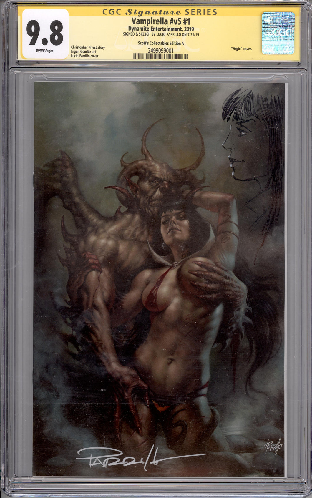 VAMPIRELLA  #1 CGC SS 9.8  (SIGNED & REMARKED BY LUCIO PARRILLO)