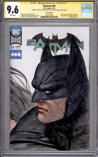 BATMAN #50 CGC SS 9.6 INHYUK LEE WATERCOLOUR BATMAN & WONDER WOMAN HEADSHOT