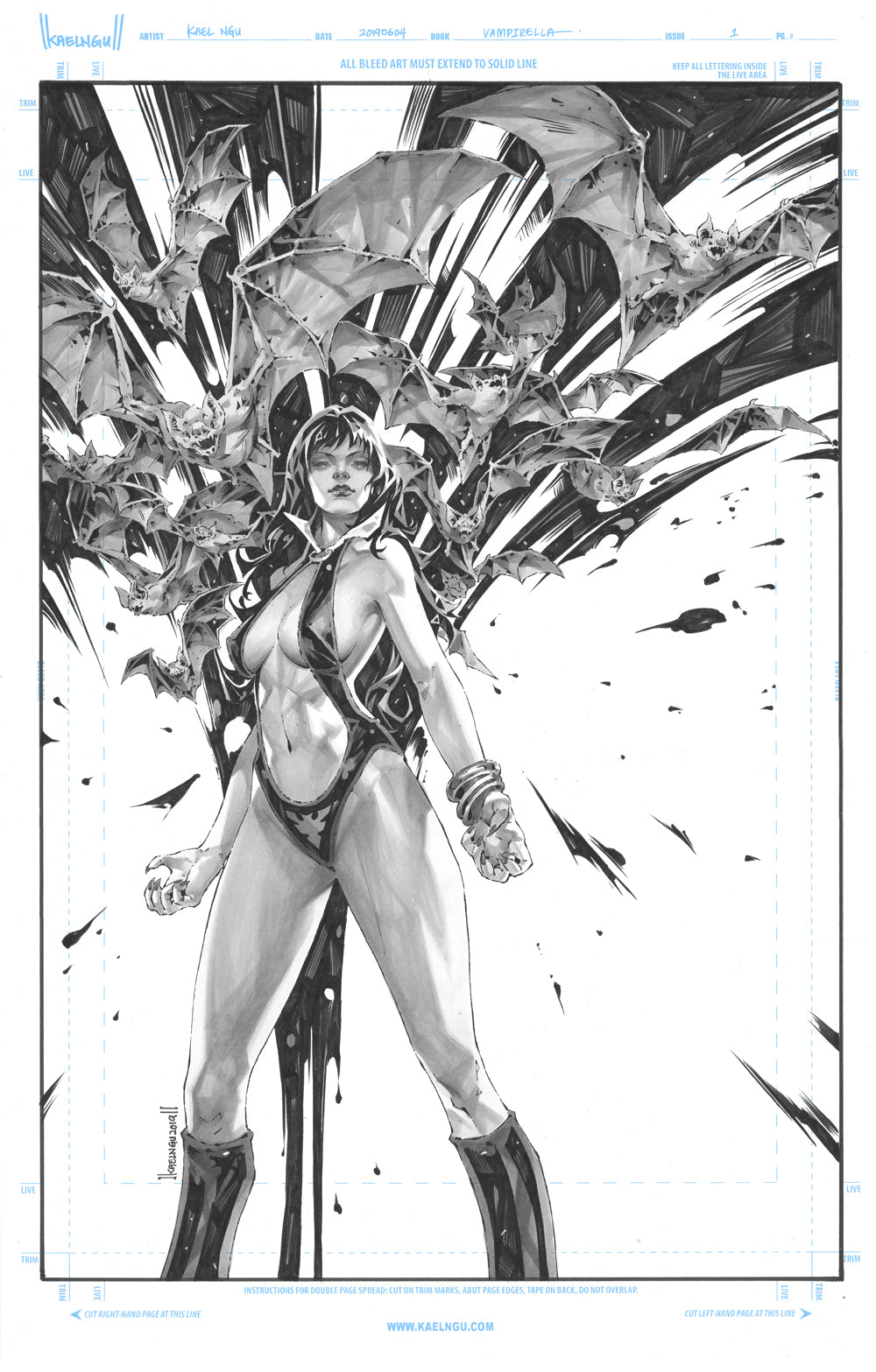 VAMPIRELLA #1 KAEL NGU ORIGINAL COVER ART