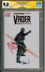 John Watson Vader Down #1 CGC 9.0 Sketch Cover Signed By Ray Park