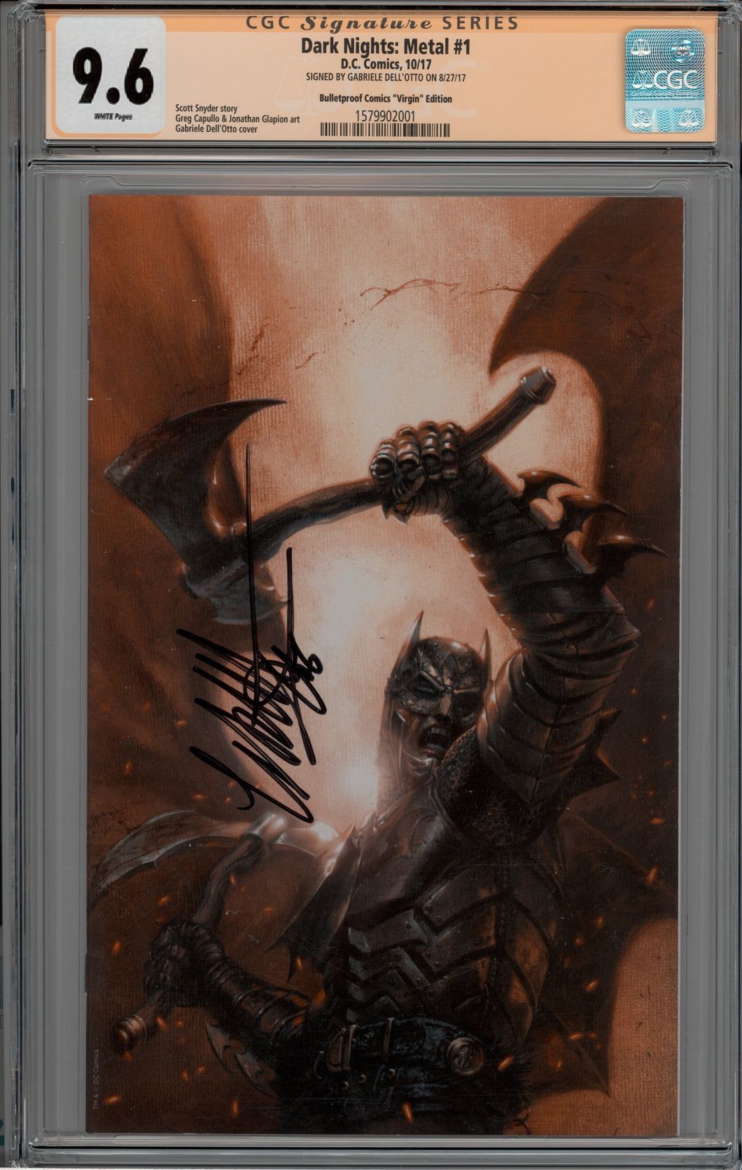 Dark Nights Metal #1 Scott's Collectables LSCC Gabriele Dell'Otto Virgin Cover CGC 9.6 Signature Series