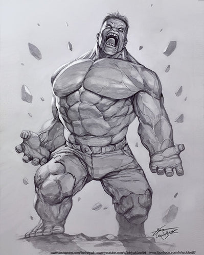 HULK INHYUK LEE PENCIL & INK ON A4 PAPER