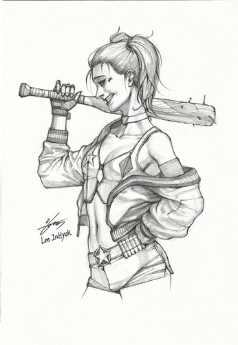 InHyuk Lee Harley Quinn Pencil and Ink Sketch
