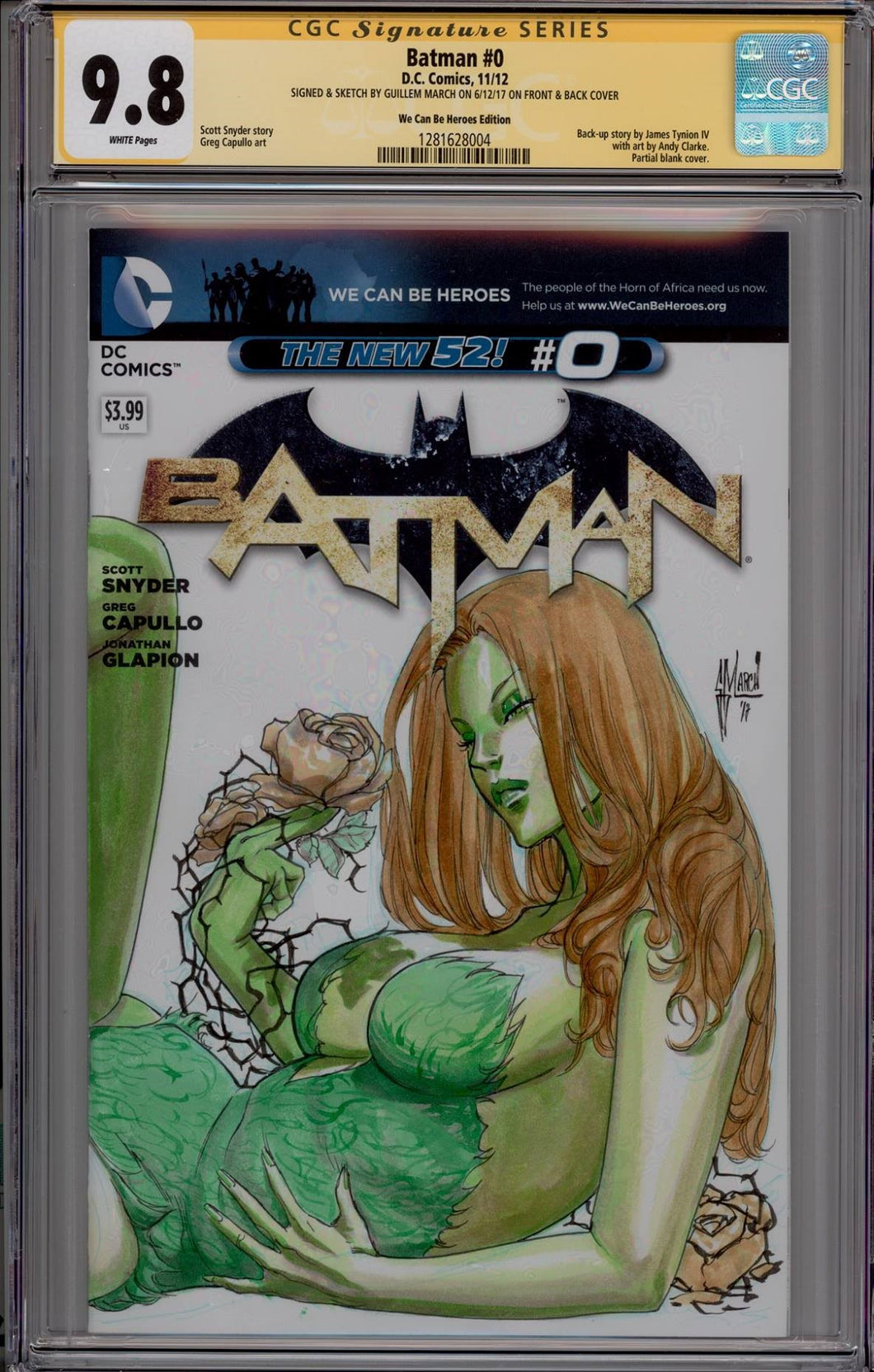 Guillem March Poison Ivy CGC 9.8 Sketch Cover