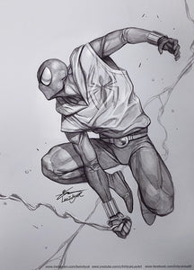 SCARLET SPIDER INHYUK LEE PENCIL & INK ON A4 PAPER