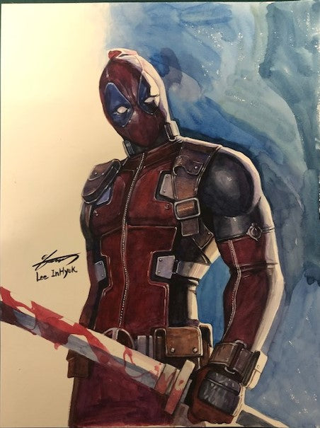 InHyuk Lee Original Art - Deadpool Watercolour A3