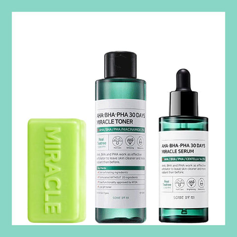 AHA/BHA/PHA 30 Days Miracle Starter Kit (Soap + Toner + Serum + Cream)