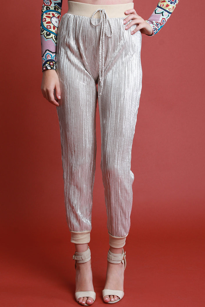 Metallic Accordion Pleated Jogger Pants