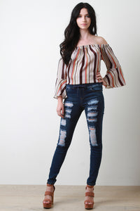 Stretchy Distressed Drawstring Skinny Denim Jeans