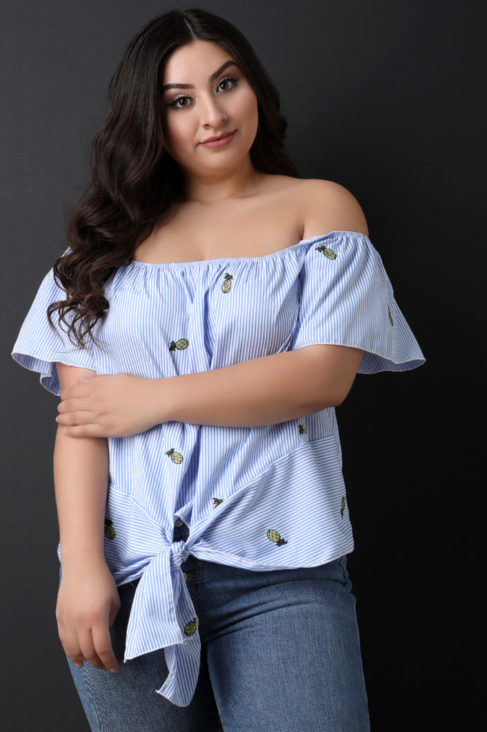 Off the Shoulder Embroidered Striped Top