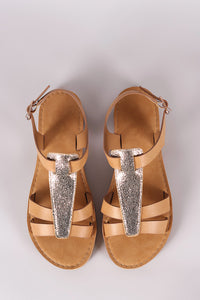 Bamboo Two Tone T-Strap Flat Sandal